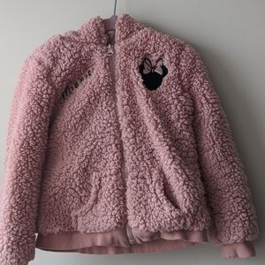 Pink Sherpa Minnie Mouse zip up hoodie
